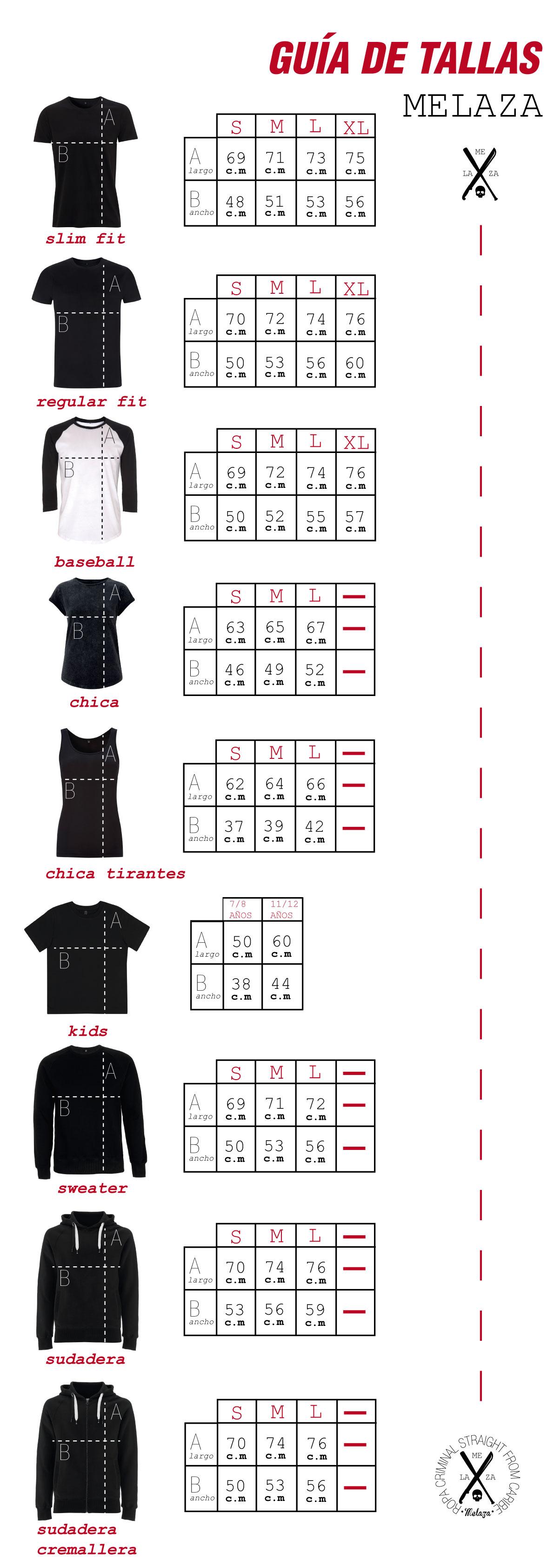 Guía de tallas Melaza